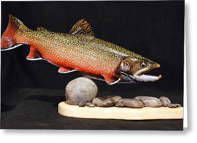 Salmon Sculptures Greeting Cards - Brook Trout 14 inch Greeting Card by Eric Knowlton
