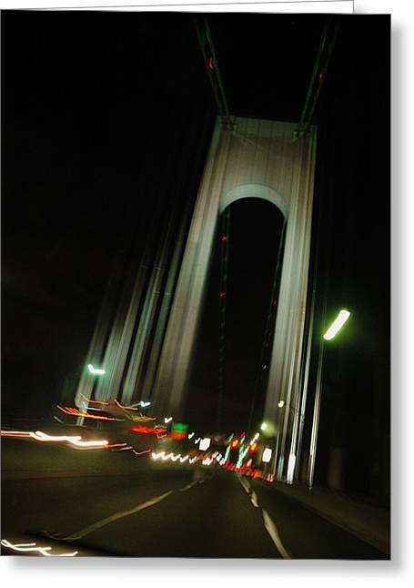 Fancy Eye Candy Greeting Cards - Brooklyn Bridge Nights Greeting Card by Anahi DeCanio