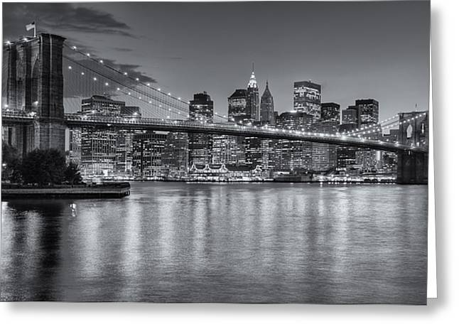 """timed Exposure"" Greeting Cards - Brooklyn Bridge Twilight II Greeting Card by Clarence Holmes"