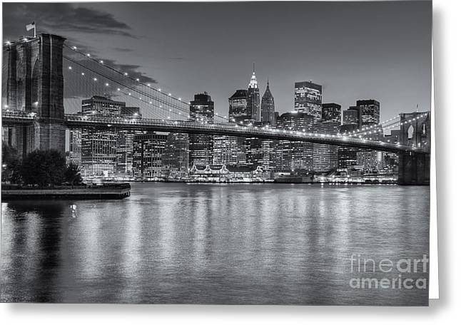 Illuminate Greeting Cards - Brooklyn Bridge Twilight II Greeting Card by Clarence Holmes