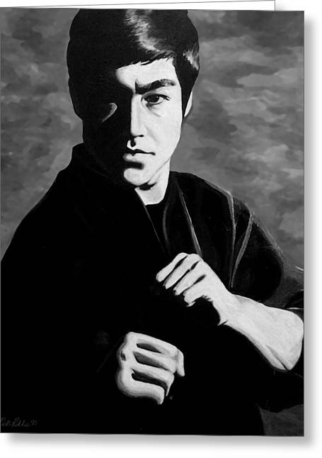 Bruce Paintings Greeting Cards - Bruce Lee Greeting Card by Rick Ritchie