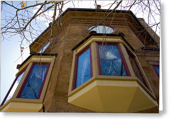 Terry Thomas Greeting Cards - Building Looking up Greeting Card by Terry Thomas