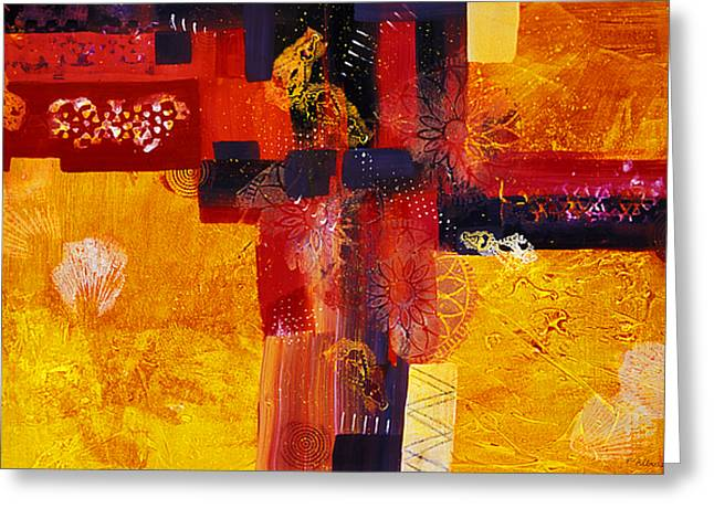 Byzantine Times An Abstract Painting Of Geometric Shapes Greeting Card by Phil Albone