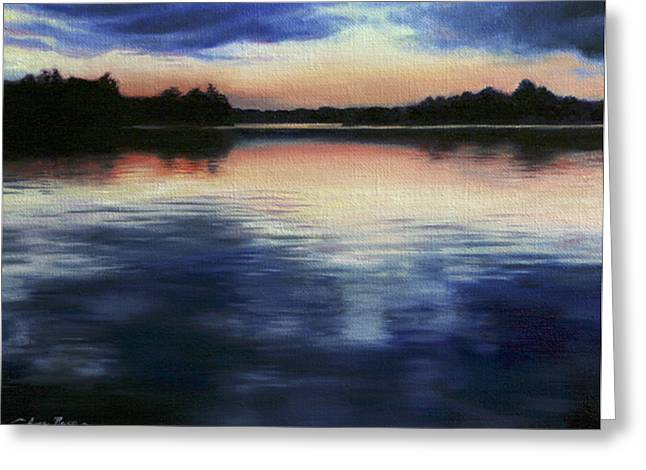 Dusk Paintings Greeting Cards - Calm Before Dark Greeting Card by Anna Bain