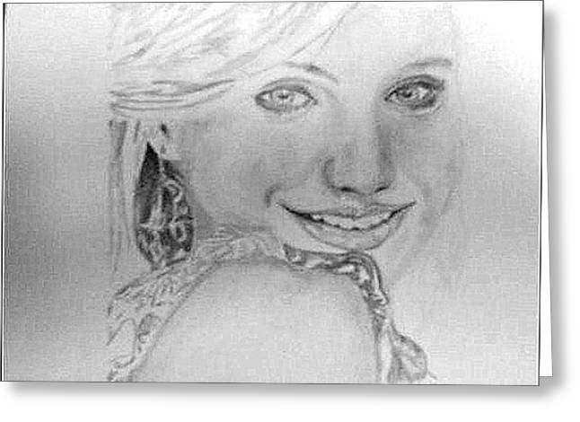 Cameron Diaz Greeting Card by Pauline Murphy