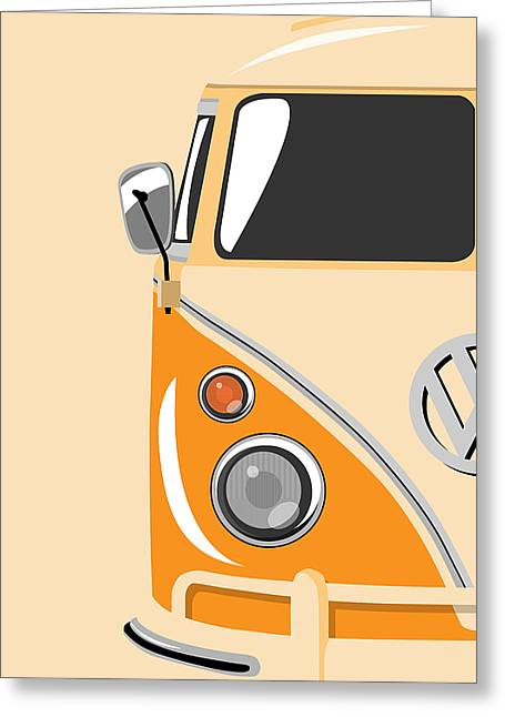 Sixties Greeting Cards - Camper Orange Greeting Card by Michael Tompsett