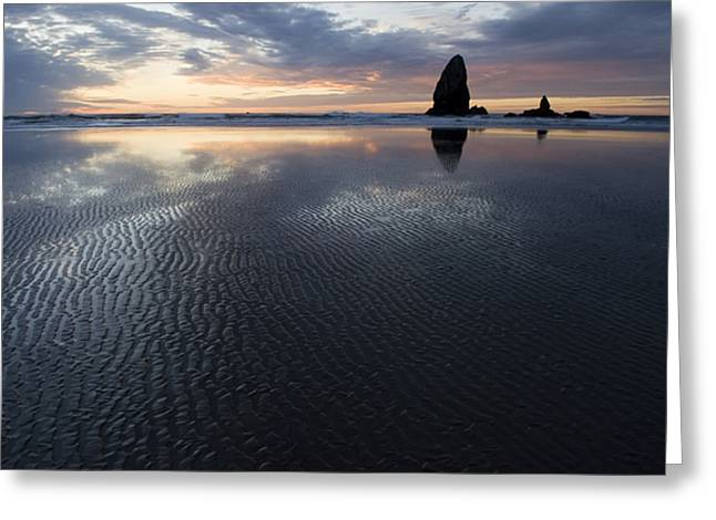 Sand Patterns Greeting Cards - Canon Beach at Sunset 6 Greeting Card by Bob Christopher