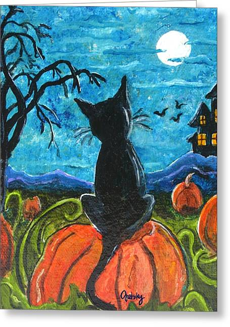 """haunted House"" Paintings Greeting Cards - Cat in Pumpkin Patch Greeting Card by Paintings by Gretzky"