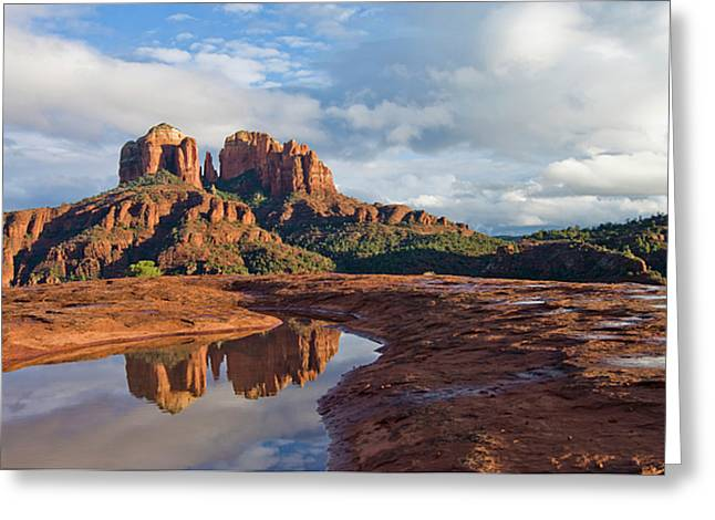 Best Sellers -  - Red Rock Crossing Greeting Cards - Cathedral Reflection Greeting Card by Wayne  Johnson