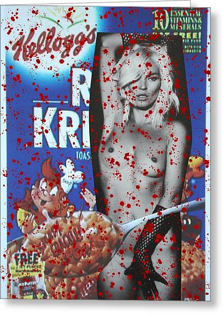 Supermodel Greeting Cards - Cereal Killer - Kate Moss Series 1 Greeting Card by Simon Johansson - KMAG
