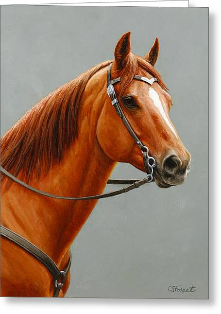Chestnut Horse Greeting Cards - Chestnut Dun Horse Painting Greeting Card by Crista Forest