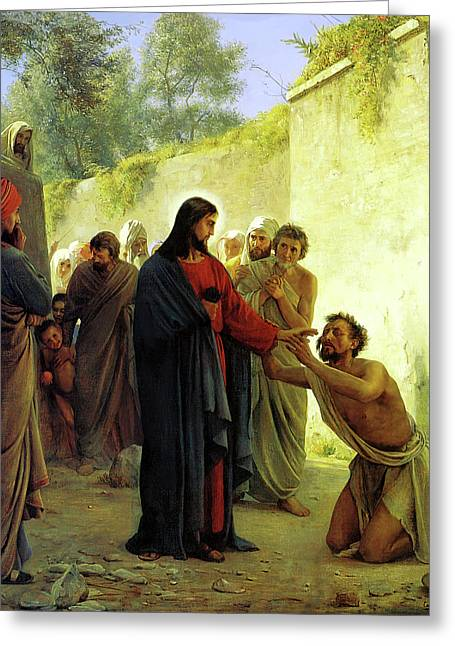 Blind Greeting Cards - Christ Healing the Blind Man Greeting Card by Carl Heinrich Bloch