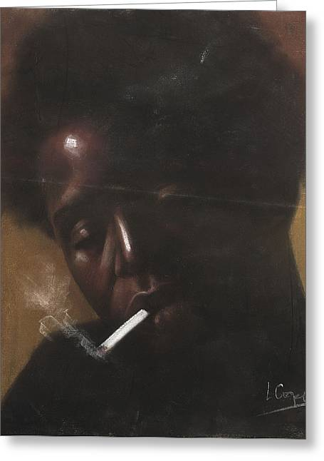 African-american Pastels Greeting Cards - Cigarette Smoker Greeting Card by L Cooper