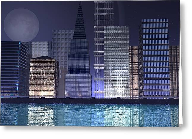 City Lights Greeting Card by Gt