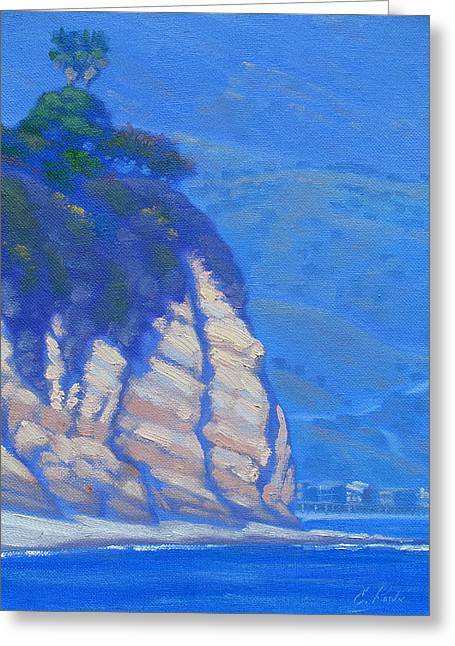 Naturalistic Greeting Cards - Cliffs at Point Dume Greeting Card by Elena Roche