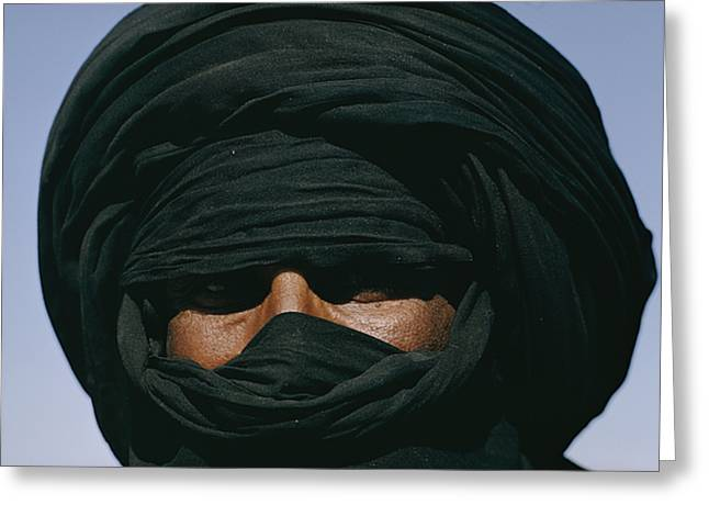 Ethnic And Tribal Peoples Greeting Cards - Close View Of A Turbaned Tuareg Man Greeting Card by Thomas J. Abercrombie