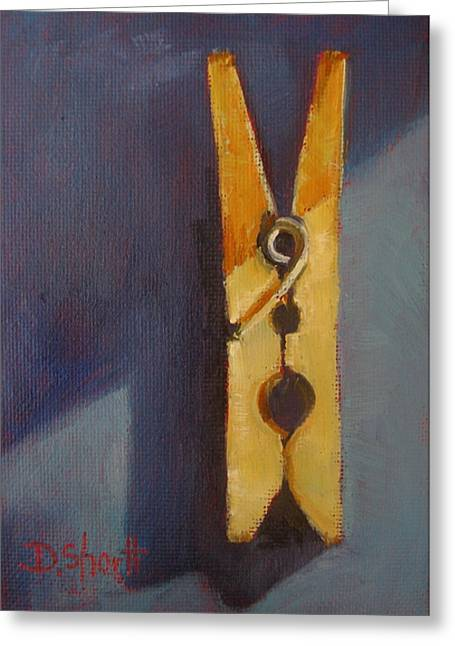 Donna Shortt Greeting Cards - Clothespin Greeting Card by Donna Shortt