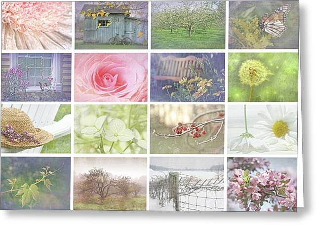 Three Roses Greeting Cards - Collage of seasonal images with vintage look Greeting Card by Sandra Cunningham