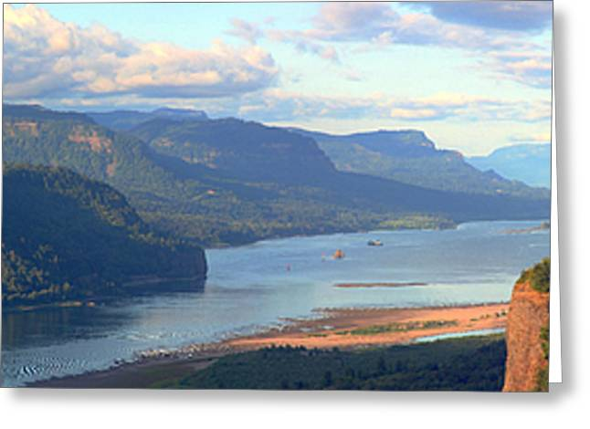 Rural Area Greeting Cards - Columbia River Gorge panorama. Greeting Card by Gino Rigucci