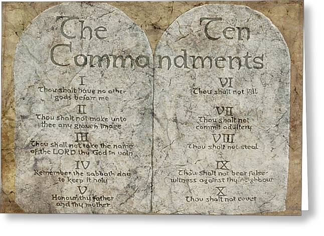 Scriptural Greeting Cards - Commandments Greeting Card by Cindy Wright