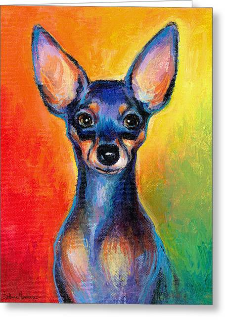 Chihuahuas Greeting Cards - Contemporary colorful Chihuahua chiuaua painting Greeting Card by Svetlana Novikova