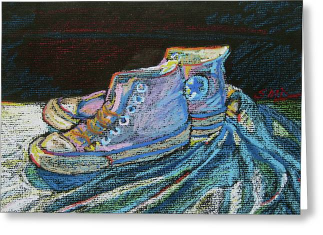 Basketball Pastels Greeting Cards - Converse-a-tion Greeting Card by Susan Davies