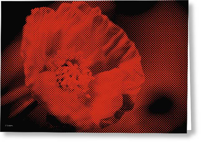 Artography Greeting Cards - Coral Red Poppy Pop Art Greeting Card by Jayne Logan Intveld