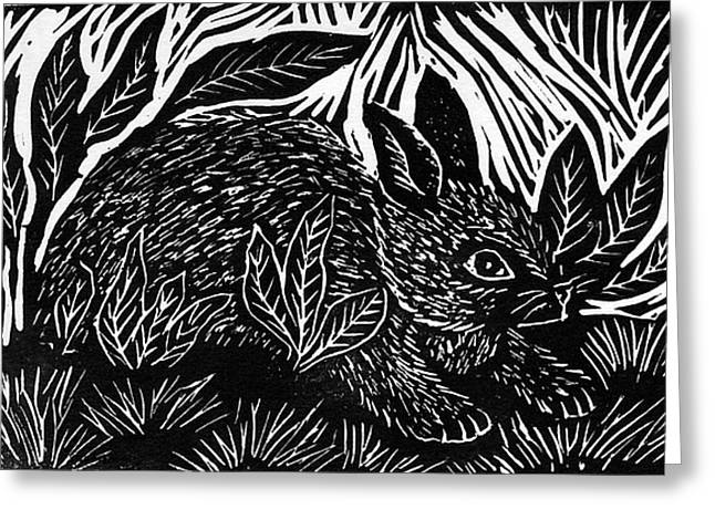 Best Sellers -  - Lino Greeting Cards - Cottontail block print Greeting Card by Ellen Miffitt