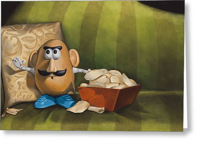 Photo-realism Greeting Cards - Couch Potato - ode to a chip Greeting Card by Judy Sherman