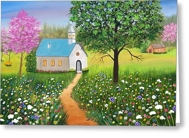 Ruth Housley Greeting Cards - Country Church SOLD Greeting Card by Ruth  Housley