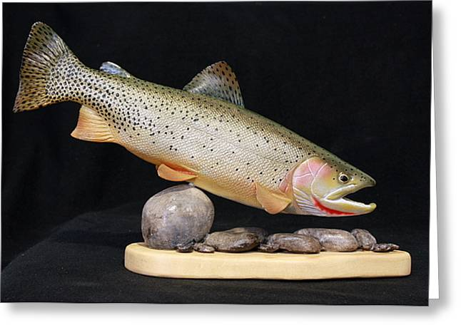 Salmon Sculptures Greeting Cards - Cutthroat Trout on the Rocks Greeting Card by Eric Knowlton
