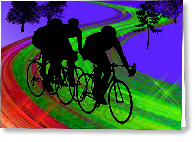 Teenager Tween Silhouette Athlete Hobbies Sports Greeting Cards - Cycling Trio on Ribbon Road Greeting Card by Elaine Plesser
