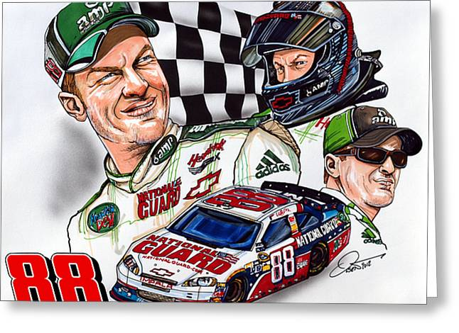 Award Drawings Greeting Cards - Dale Earnhardt Jr. - #88 Greeting Card by Dave Olsen