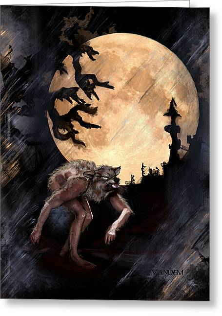 Wolf Moon Greeting Cards - Darkenwarg Greeting Card by Mandem