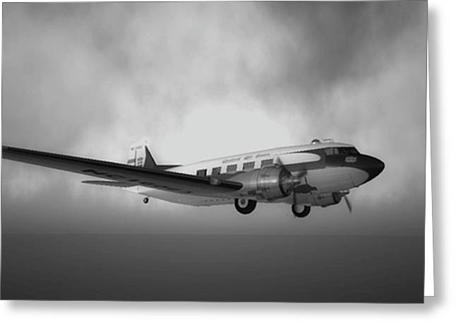 Dc-3 Greeting Cards - DC-3 Over Water Greeting Card by Mark Weller