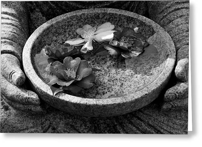 Inner Peace Greeting Cards - Devotional black-and-white version Greeting Card by Dean Harte