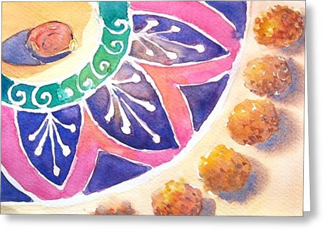 Marigold Festival Greeting Cards - Diwali Rangoli Greeting Card by Monika Deo