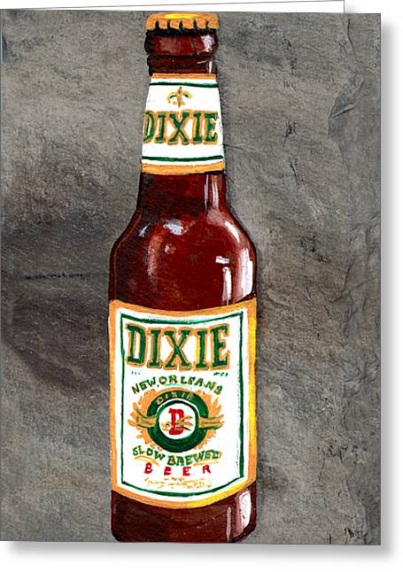 Acadian Greeting Cards - Dixie Beer Bottle Greeting Card by Elaine Hodges