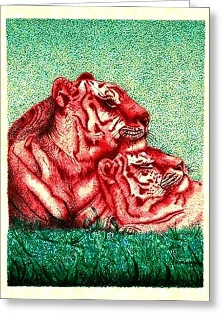 The Tiger Hunt Greeting Cards - Downtime Greeting Card by Mario  Perez