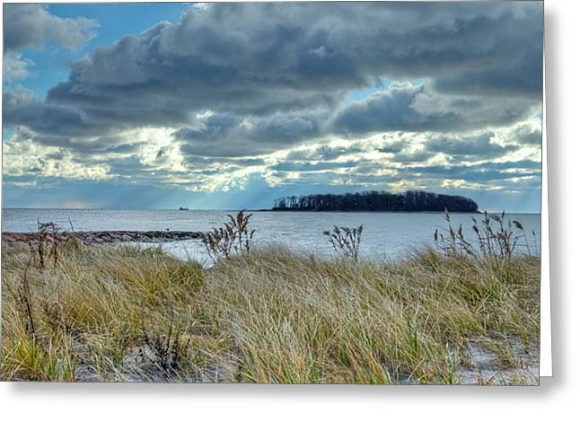 Sea Grass In The Sand Greeting Cards - Dramatic Clouds Over Charles Island Greeting Card by John Supan