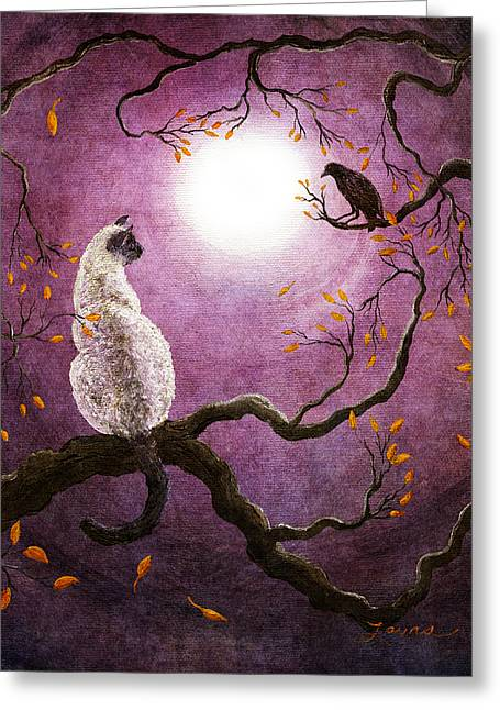 Cat Fantasy Greeting Cards - Dreaming of a Raven Greeting Card by Laura Iverson