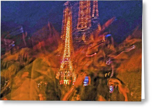 Eiffel On Bastille Day Abstract Greeting Card by Tony Grider