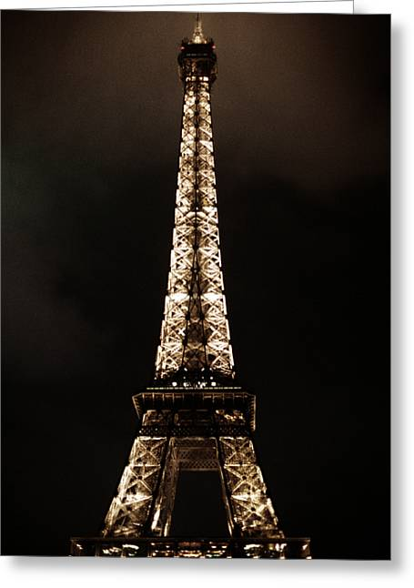 Vintage Photographs Greeting Cards - Eiffel Tower at Night Greeting Card by Andrew Soundarajan