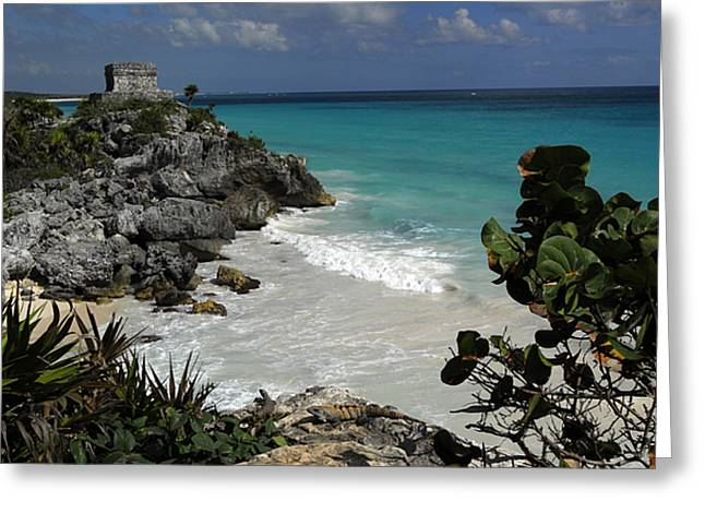 Blue Sky And Sand Greeting Cards - El Castillo On A Cliff Overlooking Greeting Card by Raul Touzon