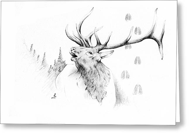Chicano Art Greeting Cards - Elk Bugle Greeting Card by Robert Martinez