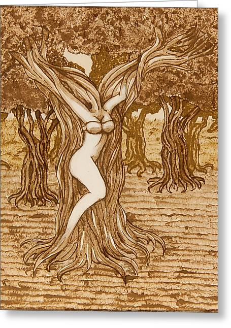 Wild Life Drawings Greeting Cards - Emerging From Nature Greeting Card by Kayleigh Dickson
