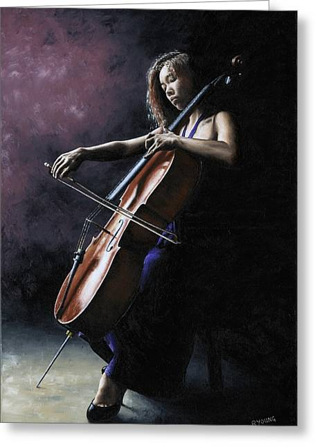Pose Greeting Cards - Emotional Cellist Greeting Card by Richard Young