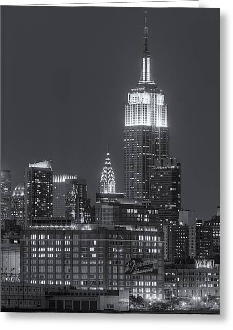 Landmark Photographs Greeting Cards - Empire State and Chrysler Buildings at Twilight II Greeting Card by Clarence Holmes