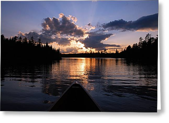 Evening Paddle On Spoon Lake Greeting Card by Larry Ricker