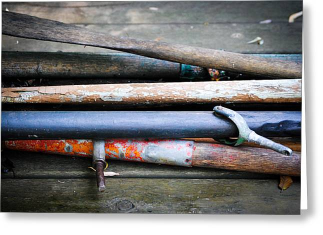 Boat Hardware Greeting Cards - Everything I Buy Is Vintage Oars Greeting Card by Laura Pineda